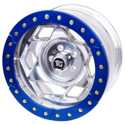 17x9 Inch Aluminum Beadlock Wheel 6 On 5.5 Inch W 3.75 Inch Back Space Red Segmented Ring Trail Gear