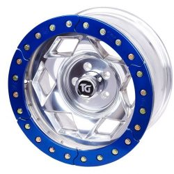17x9 Inch Aluminum Beadlock Wheel 5 On 5.50 Inch W 3.75 Inch Back Space Red Segmented Ring Trail Gear